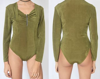 KHAKI BODYSUIT -sexy, 90s, long sleeve, zipper, wrap, boho, festival, party, goth, grunge, green, army, club kid-