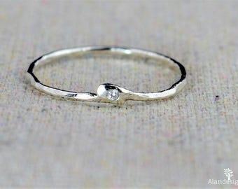 CZ Diamond Ring, Freeform CZ Diamond, Mother's Ring, Mothers Ring, Asymmetrical Ring, Freeform Silver Ring, Diamond Ring, Stack Ring, Alari