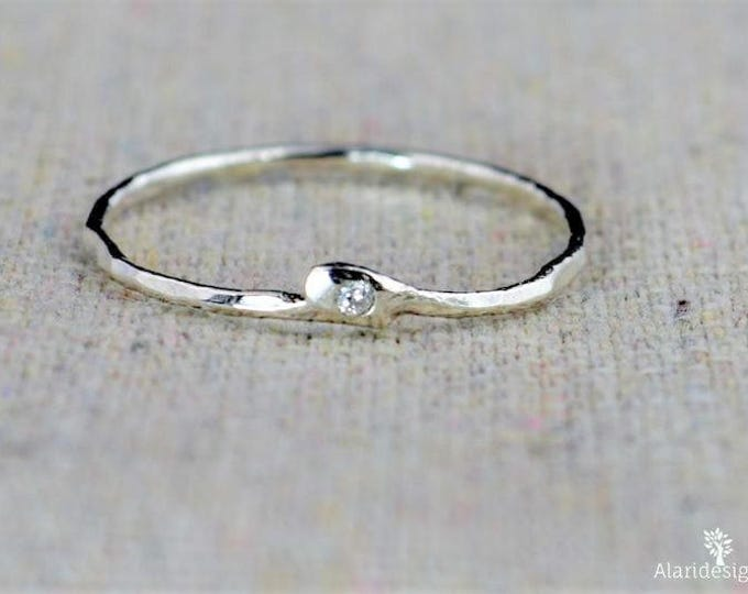 CZ Diamond Ring, Freeform CZ Diamond, Mother's Ring, Mothers Ring, Asymmetrical Ring, Freeform Silver Ring, Diamond Ring, Stack Ring, Alari