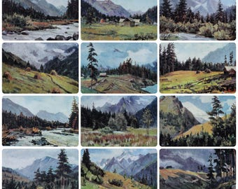 Caucasus Mountains Landscapes - Painter N. Shaulov - Set of 12 Vintage Soviet Postcards, 1968. Mount Elbrus River Forest Pastures Art Print