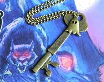 Haunted House Key Necklace - Spooky Halloween Accessory Costume Ghost Steampunk Gothic Whitby Goth Creepy Horror Fantasy Fairytale Pastel