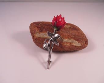 Floral brooch,silver brooch,red rosebud,brass.