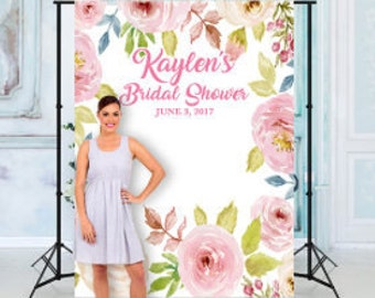 Custom Floral bridal Shower Backdrop Banner Background Photo Booth (Many Sizes Materials Available) Engagement, Wedding shower (Any Text)