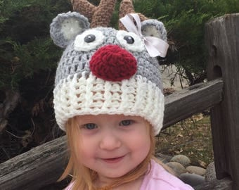 Crochet Reindeer beanie, Luv Beanies, Reindeer hats, Deer hat, Animal hats, hats for kids, Christmas hats, photo props, baby hats, kid hats