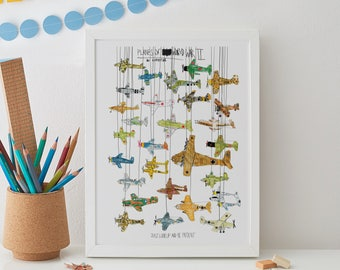 Planes of World War 2 Print A4, Fighter plane, Second World War, gift for dad, ww2, plane print, military, allies, axis, plane illustration