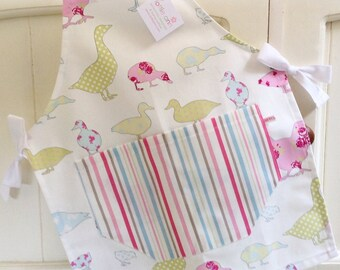 Child's Apron, Pastel Ducks, Geese & Hens Child's Apron, Child's Apron, Mother and Daughter Gift Idea, Hens, Ducks, Geese, Chickens, Chicks
