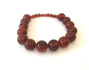 Boho bakelite necklace . French beads necklace.  Butterscotch Bakelite Beads . Single Strand Bakelite necklace . Graduating beads choker