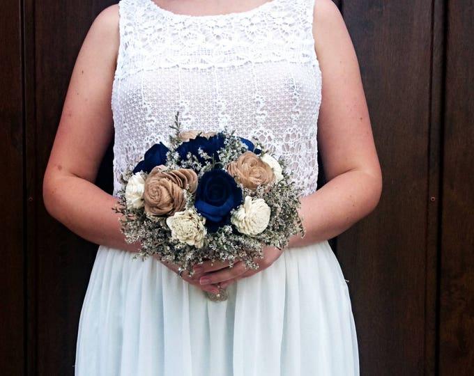 Rustic wedding bouquet dark navy caramel sola flowers dried limonium burlap lace vintage elegant winter autumn bridal alternative flower