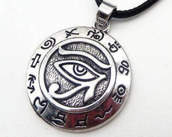 """Egyptian eye of Horus, eye of Horus necklace symbolizes """"the invisible vision"""", silver Medallion 2.5 cm cord black 45 cm + extension"""