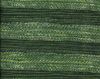 "New Green Cactus Stripe 100% Cotton Fabric 12"" x 35"" Piece"