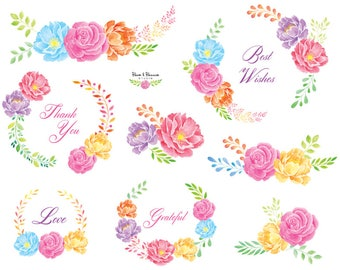 watercolor wreath clip arts, roses, peonies, leaves
