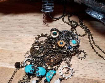 Steampunk Octopus  Necklace, Jules Verne Inspired