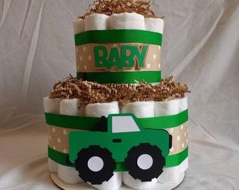 Diaper Cake - Two Tier Diaper Cake- Truck Diaper Cake - Boy Diaper Cake - Shower Diaper Cake - Centerpiece - Newborn - Shower Decoration
