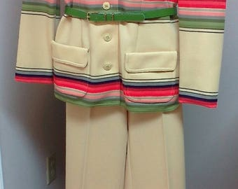 "Retro ""My Latest Leslie Fay"" Three Piece Ladies Pant Suit and Belt Pants Top and Colorful Jacket With or Without Belt Never Worn 70s Suit"