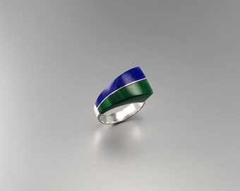 Lapis Lazuli and Malachite ring with Sterling silver - modern design - gift idea - modern design - blue and green gemstone ring - AAA Grade