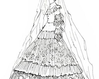 5.5 Inch Dollhouse Doll Wedding Gown and Veil Pattern Vintage Ella DeHart Pattern PDF INSTANT DOWNLOAD ePattern Email Pattern