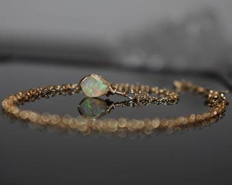 Raw Fire Opal Pendant Necklace, October Birthstone Jewelry, Tiny Raw Stone Necklace, Wire Wrapped Raw Crystal Necklace, Ethiopian Welo Opal