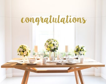 CONGRATULATIONS glitter banner, wedding, engagement, special occasion, celebration, graduation, party decor