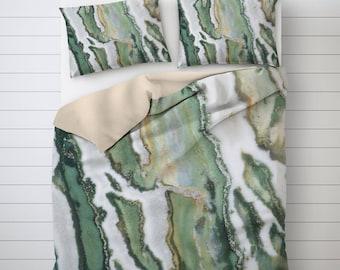 Zebra Jasper Bedding, Mineral Photo Bed, Abstract Pillow Sham, Duvet Cover King, Soft Duvet Cover, Pillow Sham Pattern, White Duvet Cover
