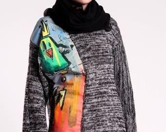Colorful Rainbow Sweater With Graffiti Bird Grey And Neon Soft Coton Winter Wear