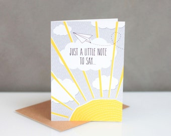 Just because card // A little note // note card // friendship card //  blank card // support card // Thinking of you // sunshine // hope