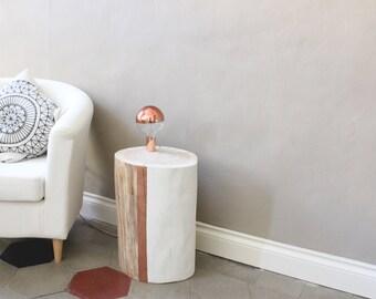 Wooden lamp, Ground lamp, Design lamp, Log lamp, Bedside table, Nordic design, Copper lamp, Wedding gift, Minimal design, Design light