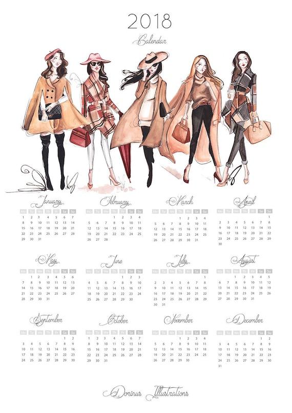 fashion illustration calendar 2018 glance calendar fashion calendar fashion illustration 2018