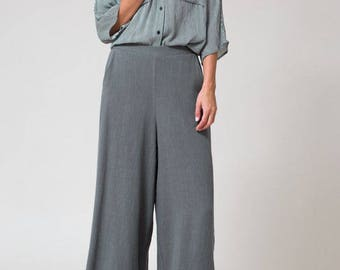 Margot Linen Culotte Pants / Mustard & Charcoal / Wide Pants / Trendy Wide Trousers