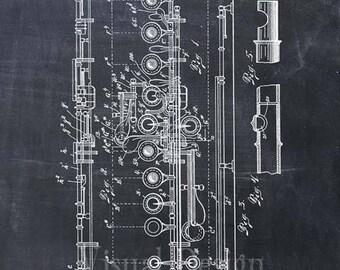 Flute Patent Print Art