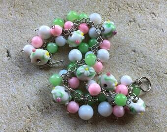 Beaded Bracelet, Pink and White Flower Beadwork Bracelet, Beaded Jewelry, Gift For Her, Womens Jewelry, Glass Bracelet