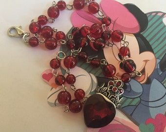 Ruby Red Princess Crown Necklace Pendant, Girls Jewelry, Childrens Jewelry, Young Girls, For Her, Crown Pendant, Princess