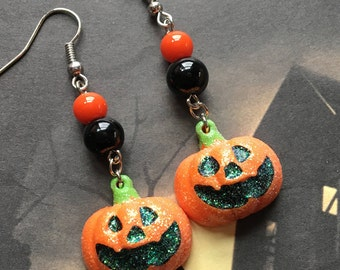 Halloween Jewelry, Halloween Earrings, Pumpkin Earrings, Halloween Gift Idea, Orange Pumpkin