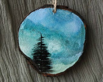Hand Painted Ornament, Alcohol Ink Art, Evergreen Tree Painting, Dreamy and Surreal