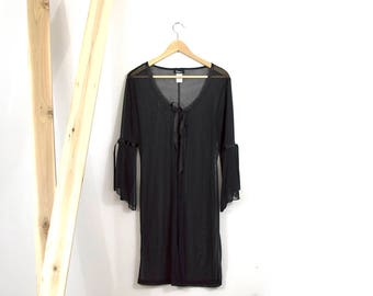 90s Summer Romance Robe / Sheer Flare Sleeve Satin Trim Cover Up / Small-Large