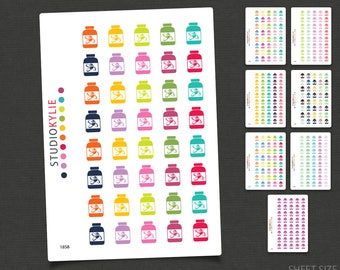 Tablet / Pill Bottle Icons - Planner Stickers   - Repositionable Vinyl Stickers