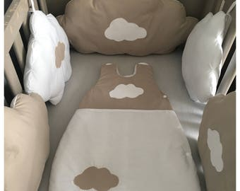Bumper baby shaped clouds taupe and white cloud
