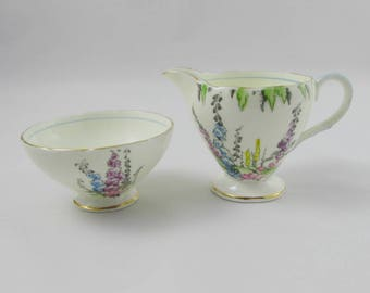 Foley Cream and Sugar, Hand Painted Foxgloves, Vintage Bone China