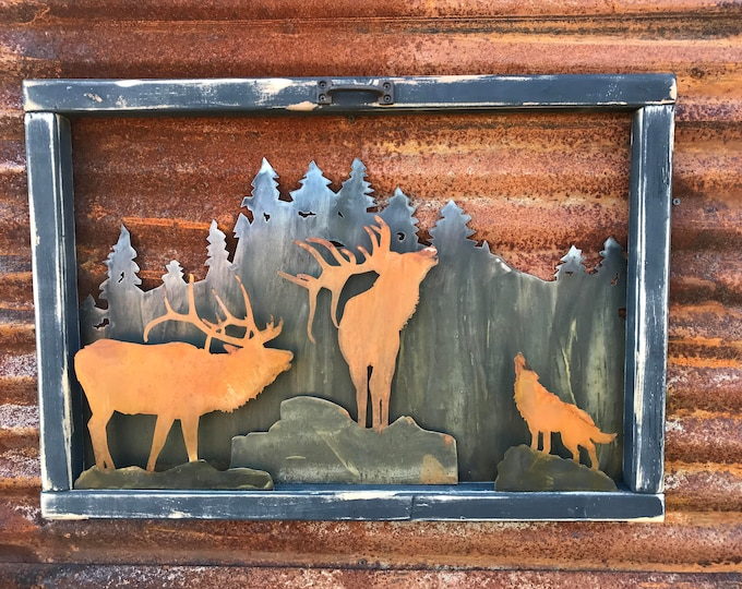 Vintage Window, Rustic Sign, Mountain decor, Elk Decor, Rustic Decor, Farmhouse Decor, Hunting decor, Rustic Home Decor, Cabin Decor