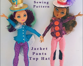 "MAD BAZAAR Jacket, Pants, Top Hat Doll Clothes Sewing Pattern for 9.5"" - 11"" Fashion Dolls like Ever After High - Instant PDF Download"