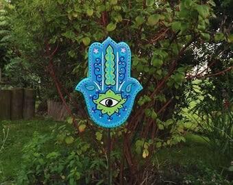 garden sculpture, Hand of  Fatim, Hamsa, garden decoration, spiritual garden decoration