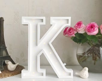 Marquee letter K Letter lights K alphabet lights Marquee letters Nursery light Wooden letters Night light Kids lamp