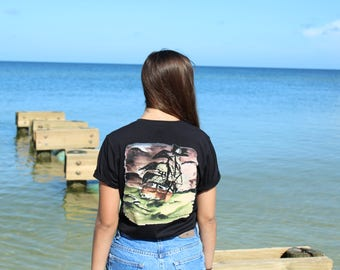 Organic Cotton Adult Unisex T-Shirt, Pirate Ship, Eco-Friendly Apparel, Women's Tee