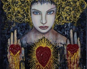 "Fine art print on Giclee paper 8"" x 10"" ready to frame ""Bleeding Heart"" Portrait by Deborah Bowe DCBArtstudio"