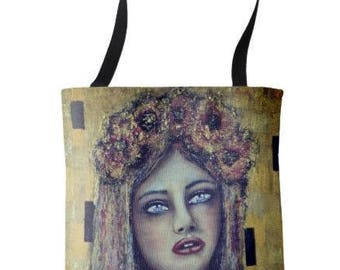 """L.E. Wearable Art Medium Tote Bag """"The Longing"""" All over print tote printed painting lady artwork by Deborah Bowe"""
