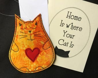 Time spent with cats is never wasted, cat card & gift, Quilted Kitty ornament, Cat Lover memento, New kitty card, Cat Lover gift, #3 -5