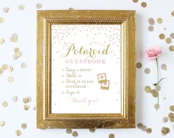 Polaroid Guest Book Sign Printable 8x10 . Photo Book Sign . Pink and Gold . Wedding Bridal Shower Sign . Digital Download . Instant Download
