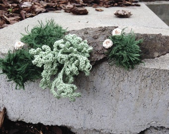 Fiber Art featuring crochet moss, lichen (Evernia prunastri) and cup fungus (peziza succosa) mounted on bark