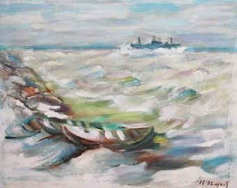 European art vintage oil painting seascape signed