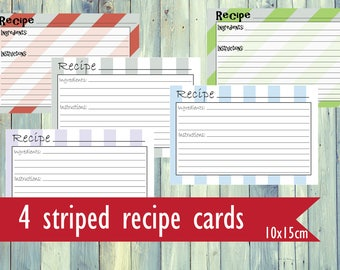 Printable recipe cards. Striped recipe cards. Pastel recipe cards. Printable simple recipe cards.