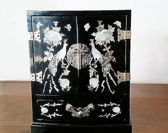 Asian Jewelry Box, Vintage Jewelry Box, Oriental Jewelry Box, Jewelry Organizer Wood